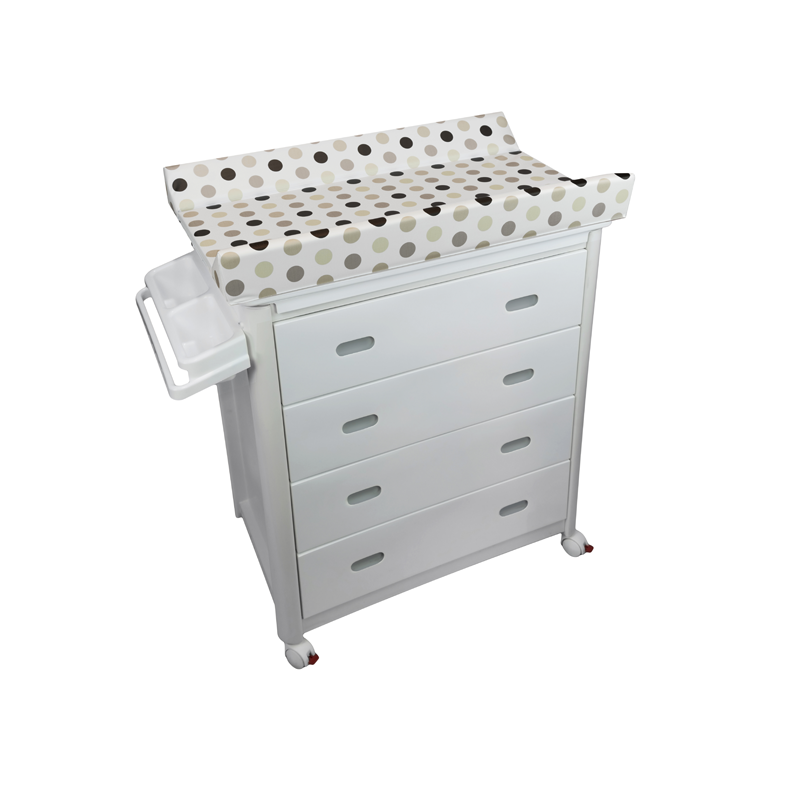 White Baby Bath + Dots Changing Unit