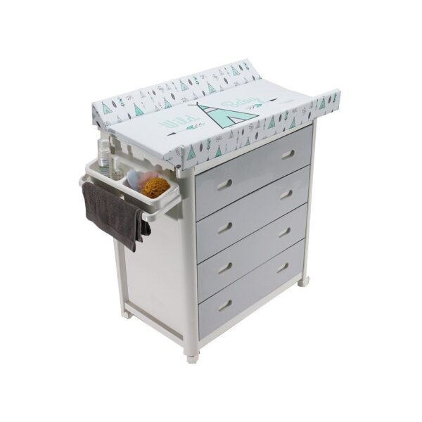 White Baby Bath + Stork Changing Unit