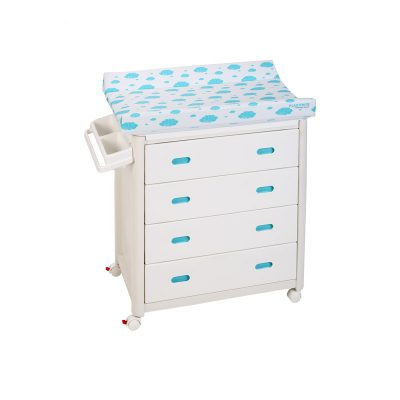 Blue Baby Bath + Blue Dots Changing Unit