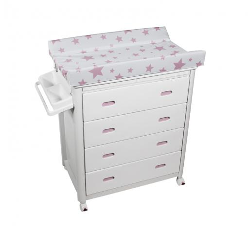 Bañera Cajones Blancos con Cambiador Estrellas Rosa