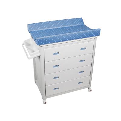 Bañera Cajones Blancos con Cambiador Topos Azul