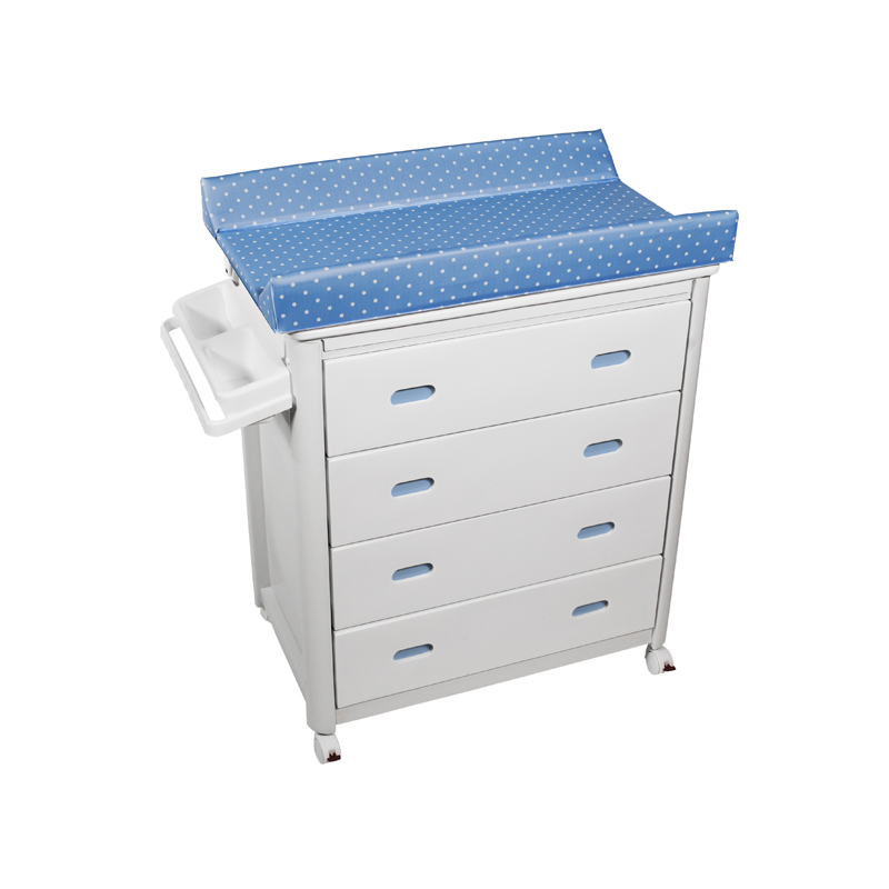 White Baby Bath + Blue Dots Changing Unit