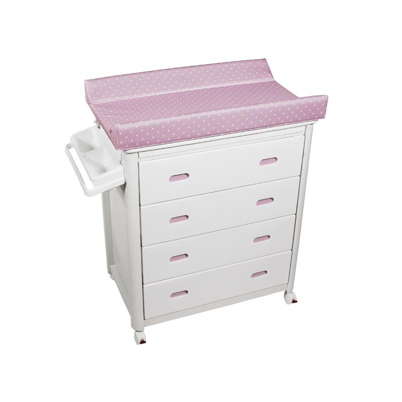 White Baby Bath + Pink Dots Changing Unit