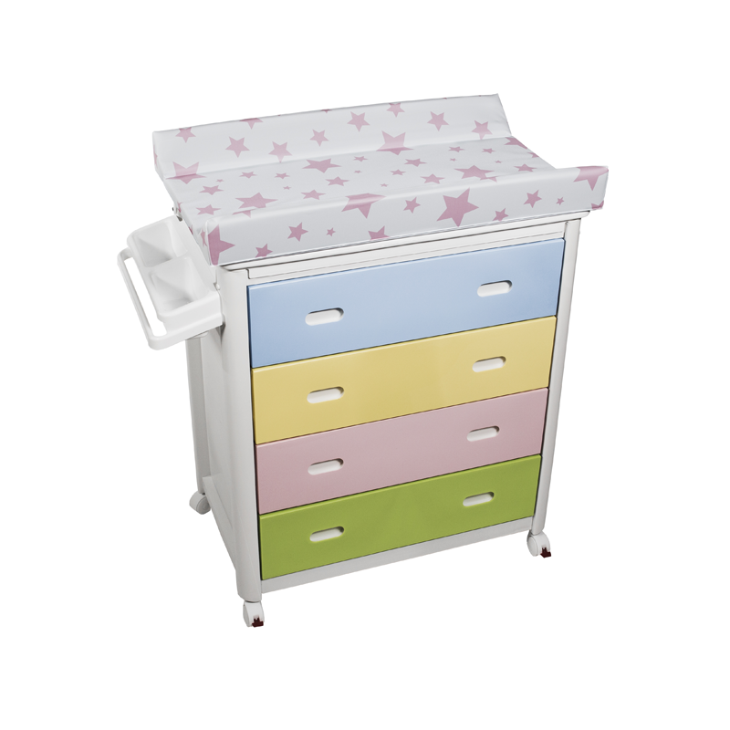 Multicolour Baby Bath + Pink Stars Changing Unit