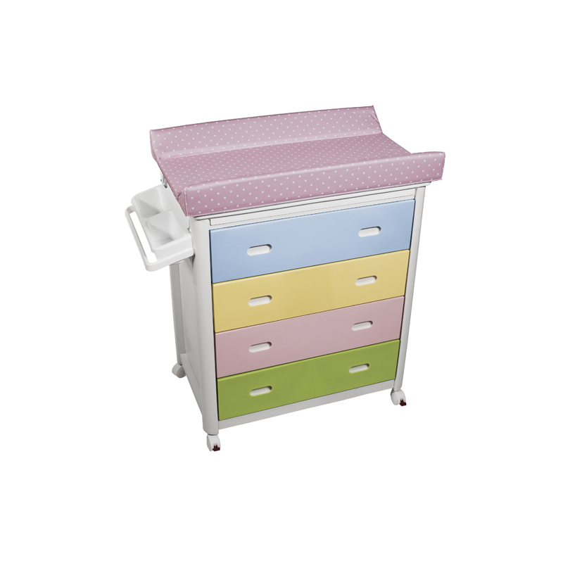 Multicolour Baby Bath + Pink Dots Changing Unit