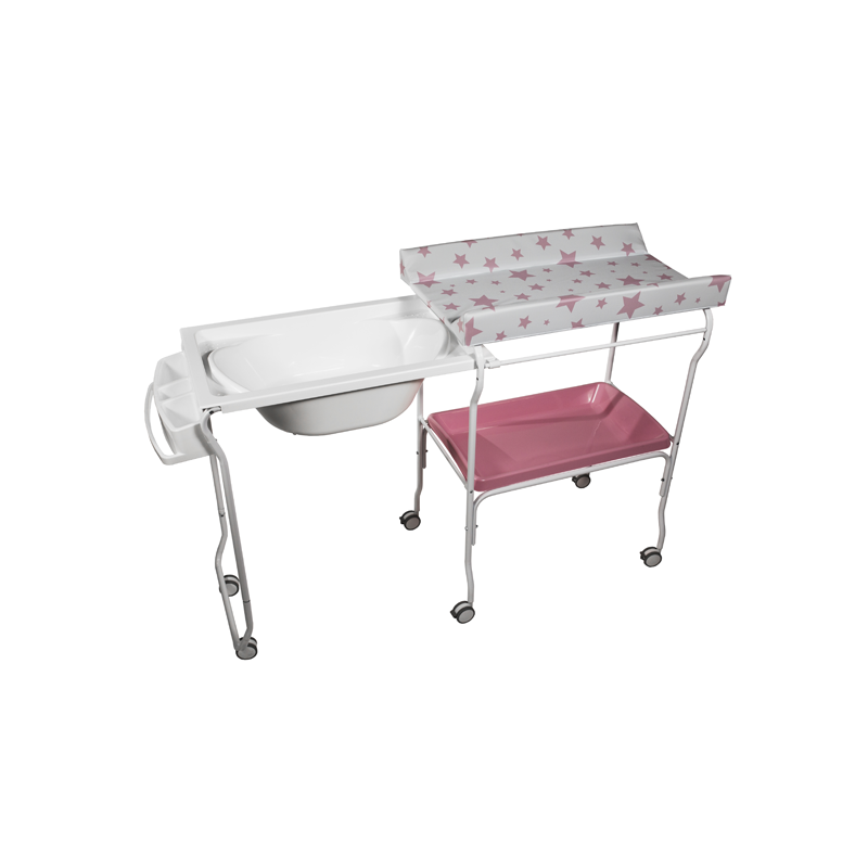 Extendable Baby Bath + Pink Stars Changer