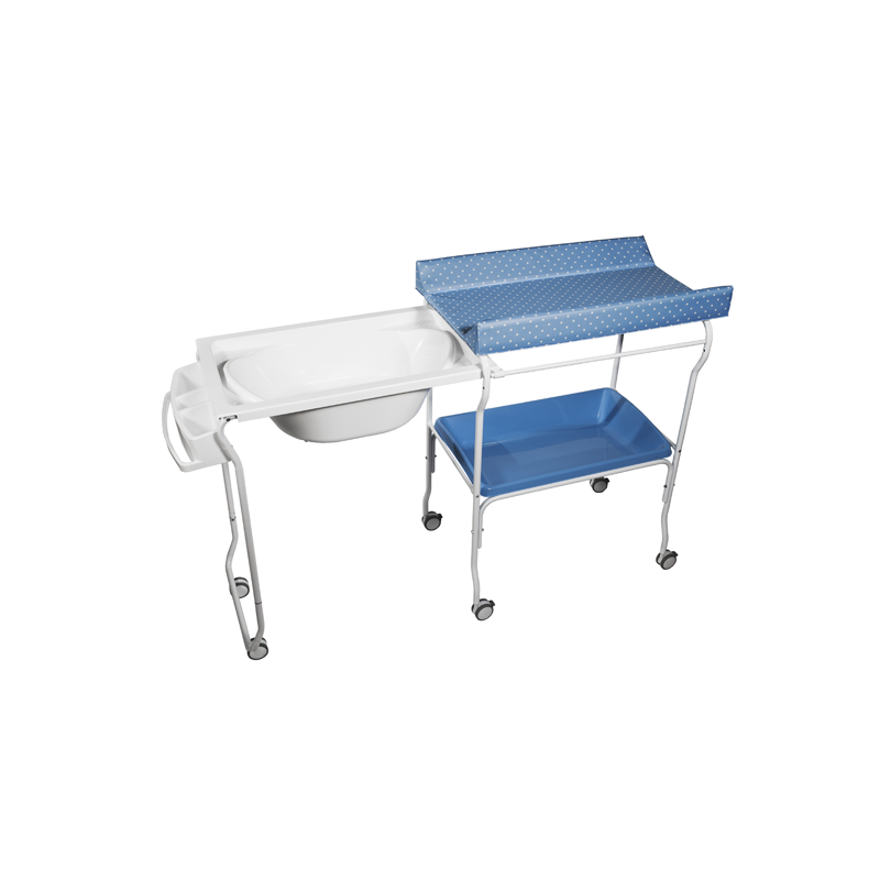 Extendable Baby Bath + Blue Dots Changer