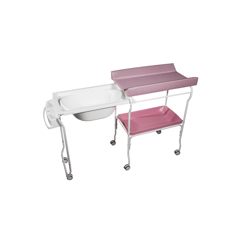 Extendable Baby Bath + Pink Dots Changer