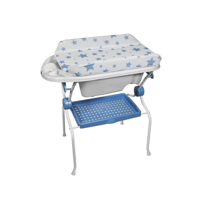 Folding Baby Bath + Blue Stars Changer Anatomic Bathtub