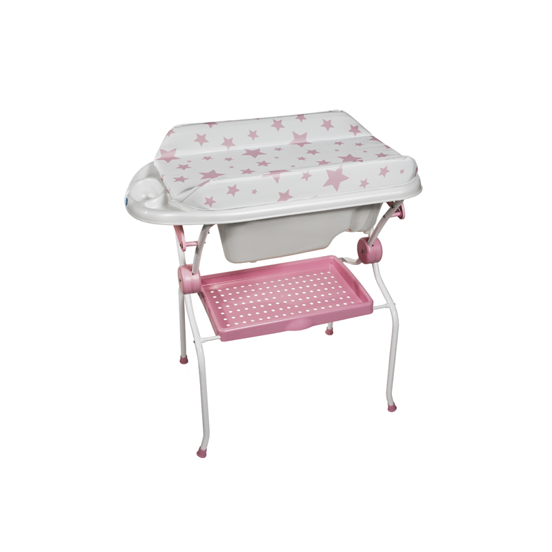 Folding Baby Bath + Pink Stars Changer Anatomic Bathtub