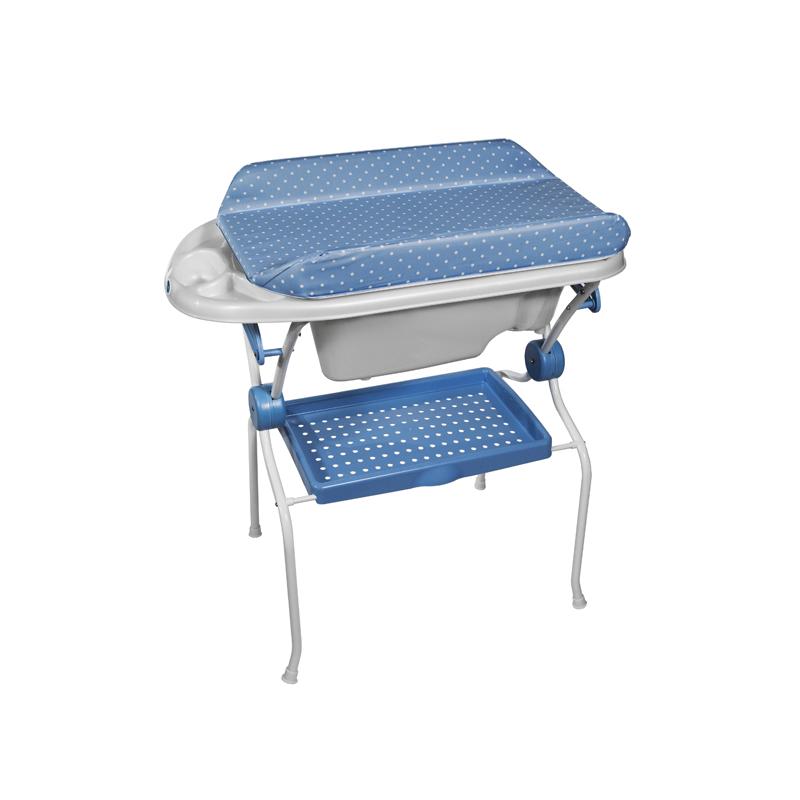 Folding Baby Bath + Blue Dots Changer Anatomic Bathtub