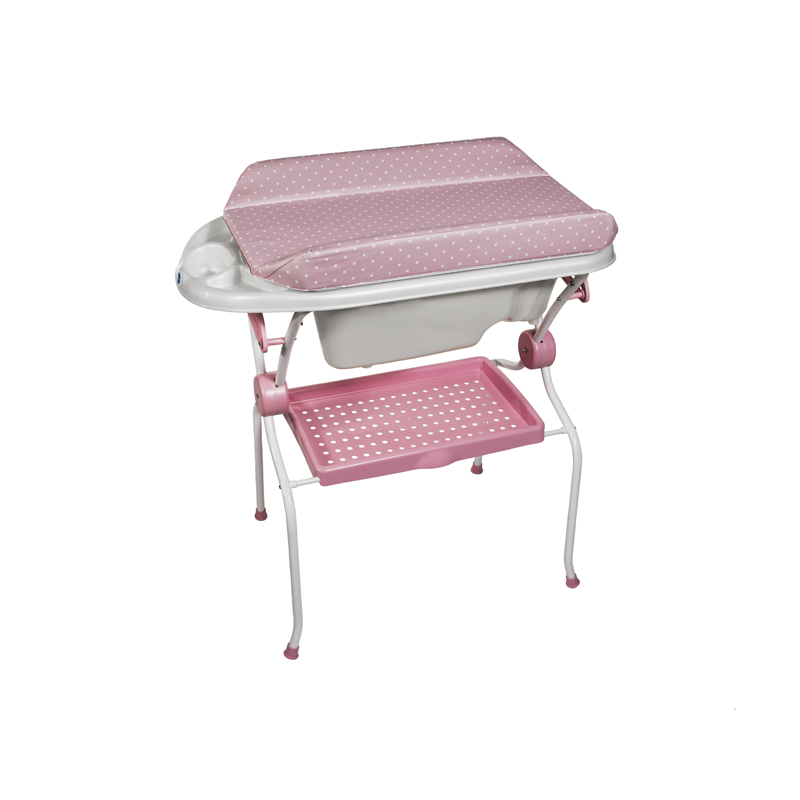 Folding Baby Bath + Pink Dots Changer Anatomic Bathtub