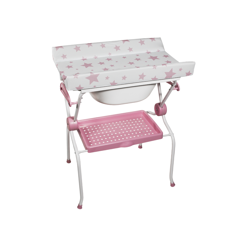 Folding Baby Bath + Pink Stars Changer