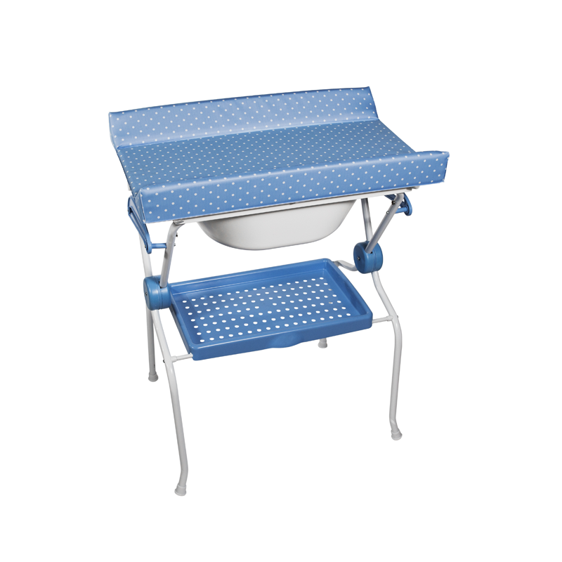 Folding Baby Bath + Blue Dots Changer