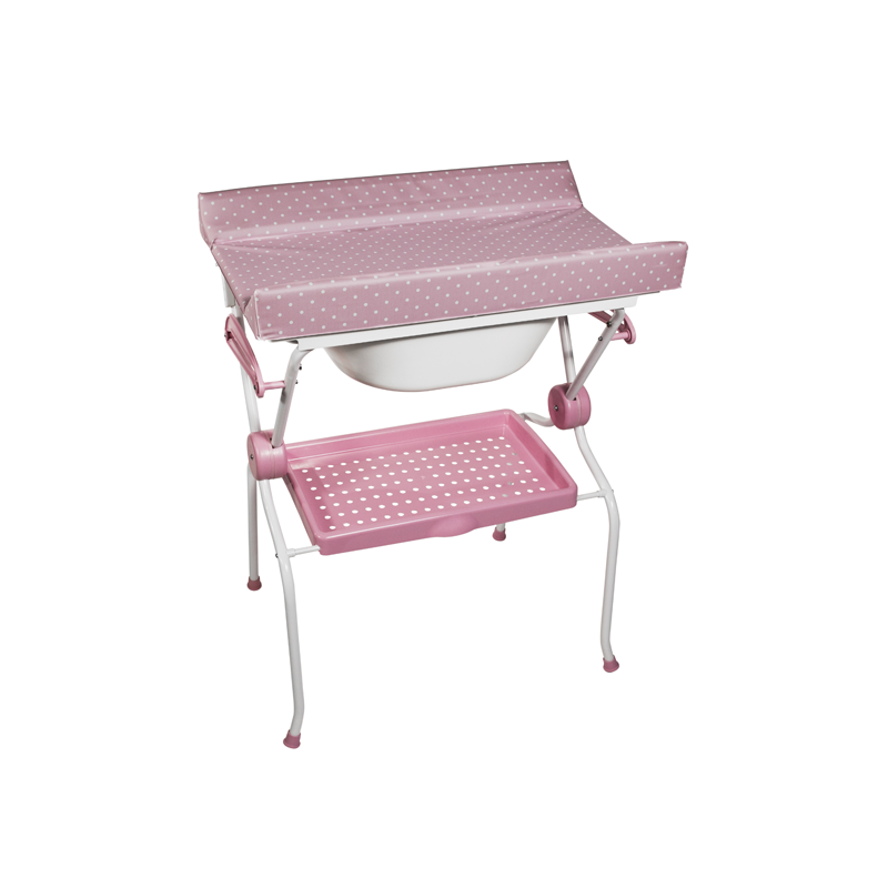 Folding Baby Bath + Pink Dots Changer