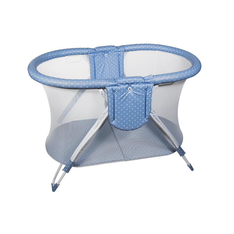 Blue Dots Curved American Playpen