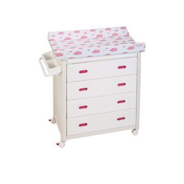 Pink Baby Bath + Pink Dots Changing Unit